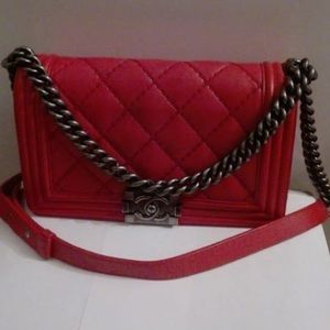 Chanel boy old medium red ruthenium hardware